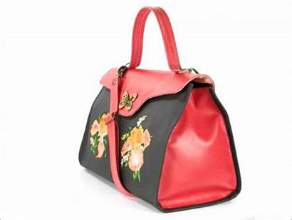 Leather Pocketbook Purse Coral Embroidered Irises Norwegian