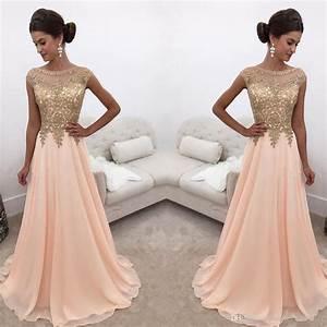 Robe Demoiselle Dhonneur : robe demoiselle d 39 honneur long peach color bridesmaid dresses with gold lace formal dress ~ Melissatoandfro.com Idées de Décoration