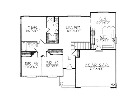 House Plan 97332 Ranch Style with 1340 Sq Ft 3 Bed 2
