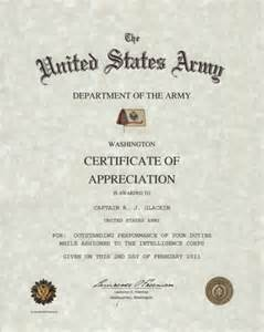 Army Certificate of Appreciation Form