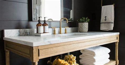 bathroom  reclaimed wood vanity white marble