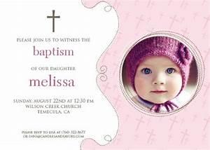 Cross Pink Photo Baptism / Christening Invitations ...