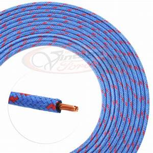 Vintage Hot Rod Cloth Covered Wire 14 Ga  Blue  2 Red 16 Ft