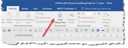 Insert Word Merge Field Access Button Mail