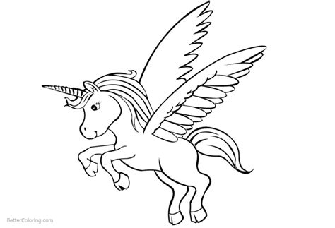 cute unicorn coloring pages  wings  printable