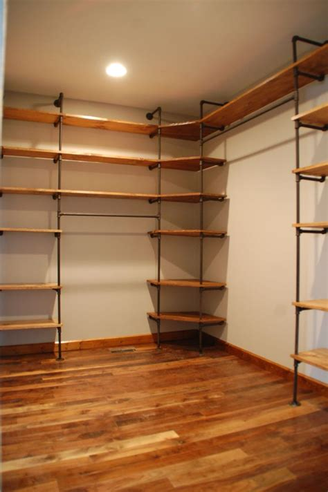 pipes  wood closet shelves home decorating trends