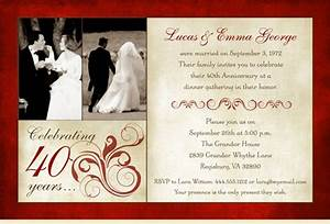 Latset happy 40th wedding anniversary party invitations for 40th wedding anniversary invitations