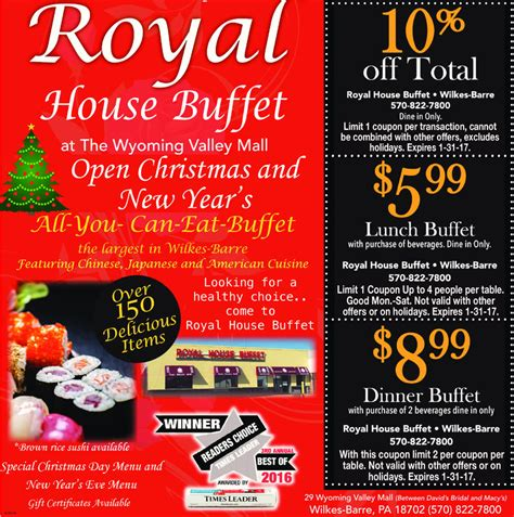 Royal House Menu by The Times Leader Business Directory Coupons Restaurants