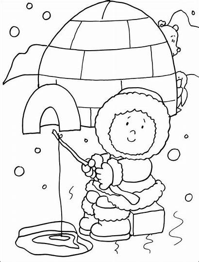 Eskimo Coloring Pages Winter Preschool Inuit Craft