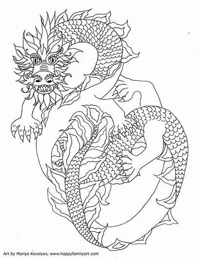 Coloring Pages Chinese Adult Colouring Dragons Pointillism