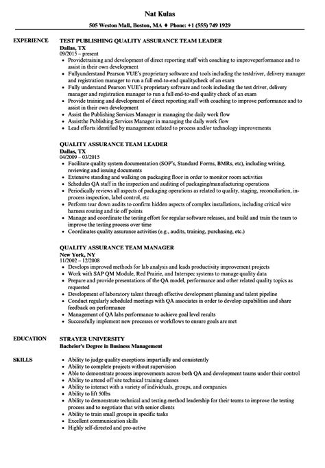 Quality assurance and control is imperative in all industries. Quality Assurance Team Resume Samples | Velvet Jobs