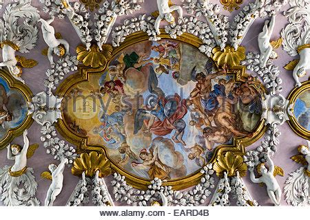 baroque stucco ceiling  cherubs angels  frescoes