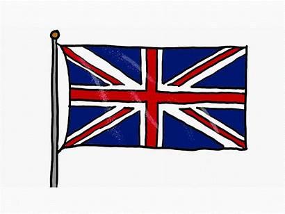 Flag Union Jack Waving Drawing Animation 2d