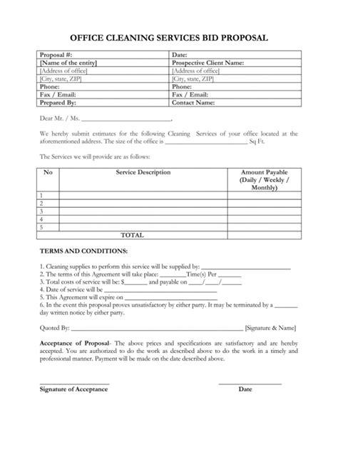 janitorial bid proposal template