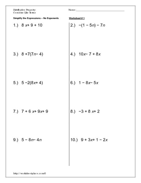 combining like terms worksheet 6th grade worksheets for