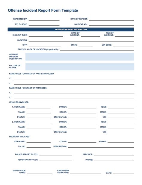 incident report form template template business