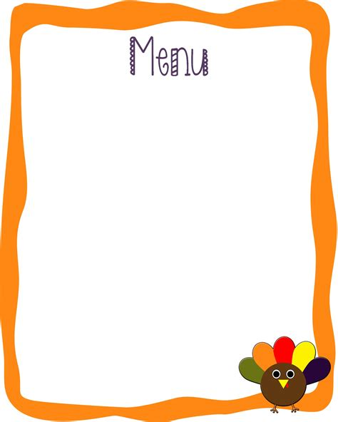 blank menu template free download bed rested teacher free thanksgiving party pack of printables