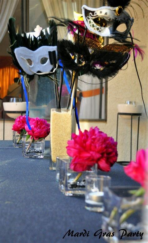 mask table decorations purple and pink masquerade diy inspired