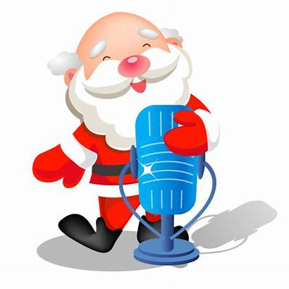 Santa Singing Microphone Icon Sing Clipart Icons