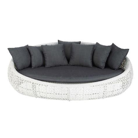 canapé en résine tressée canapé de jardin 3 places en résine tressée blanc durban
