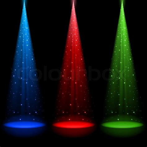 Three conical RGB shafts of light shines a spotlight into ...
