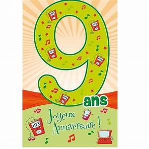 Carte Anniversaire Fille 9 Ans : carte d 39 anniversaire d coup 39 ge avec enveloppe 9 ans ~ Melissatoandfro.com Idées de Décoration