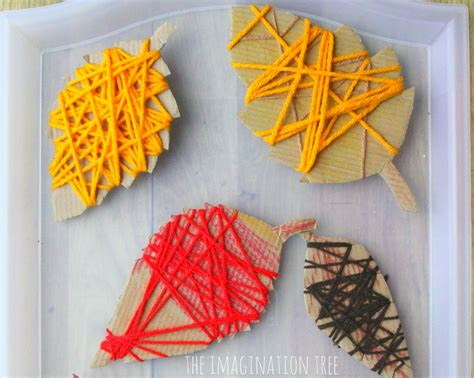 yarn activities for preschoolers yarn wrap autumn leaves the imagination tree 733