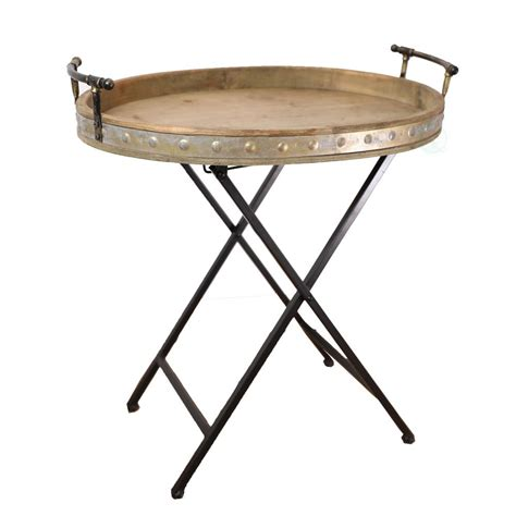 folding wood table home depot vintiquewise wood and metal serving tray with stand