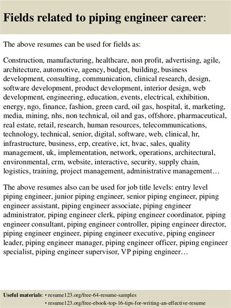 Piping Engineer Resume Objective by Top 8 Piping Engineer Resume Sles
