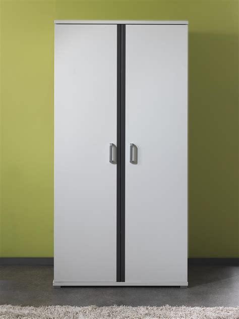 armoire chambre blanche armoire 2 portes contemporaine blanche et grise joss