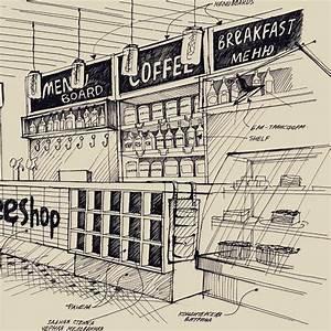 Продолжу тему скетчей: фрагмент бара кофейни #дизайн # ...