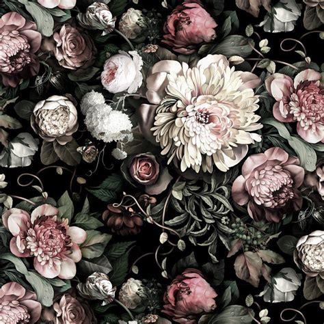 dark floral ii black saturated vinyl wallpaper ellie