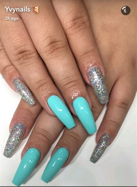 turquoise blue  silver glitter coffin nails prom