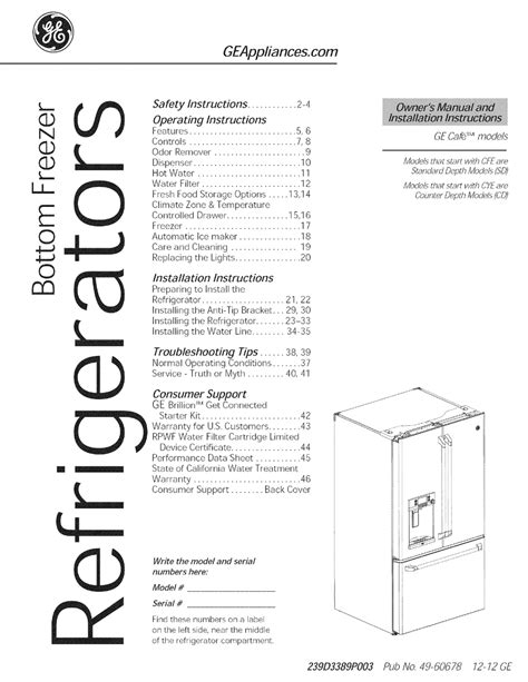 ge cafe owners manual  installation instructions   manualslib