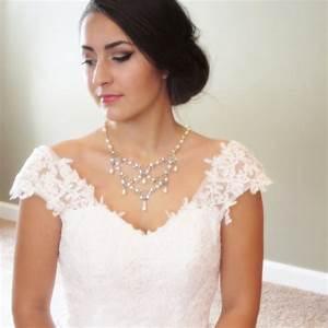 Bridal statement necklace pearl wedding necklace for Pearl necklace with wedding dress