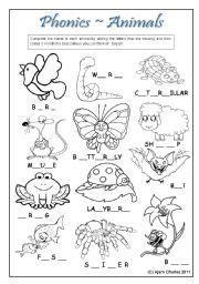 animal phonics worksheets  kindergarten coloring pages