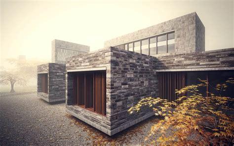 stonework house design  bamboo growing