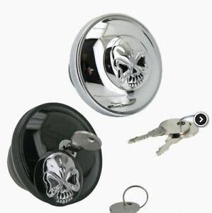 fuel cap tank chrome plated skull key lock harley davidson ebay
