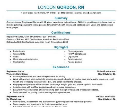 Nursing Resume Template for Registered Nurses