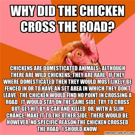 Rooster Jokes Meme - anti joke chicken why did the chicken cross the road www pixshark com images galleries with