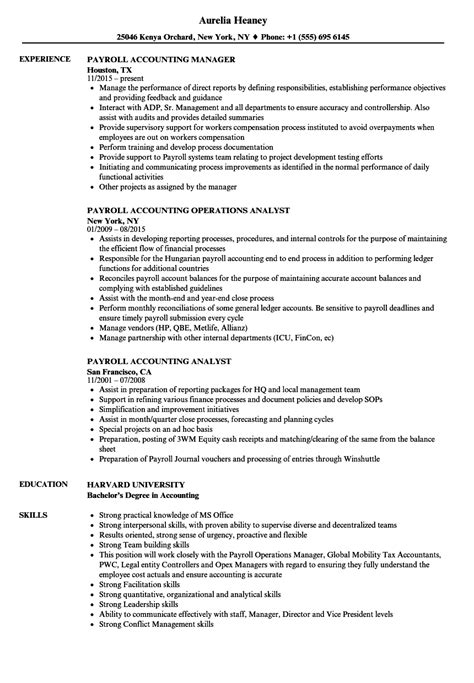 Sle Payroll Resume by Payroll Accounting Resume Sles Velvet