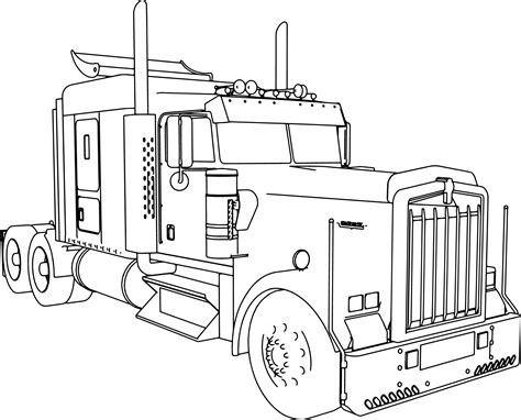 kenworth   long trailer truck coloring page
