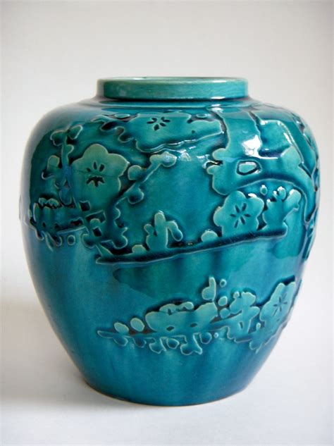 Pottery Vase by Vintage Japanese Pottery Vase With Relief Design