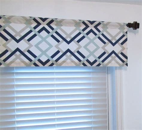Blue Gray Valance by Window Topper Navy Light Blue Grey Geometric Curtain By