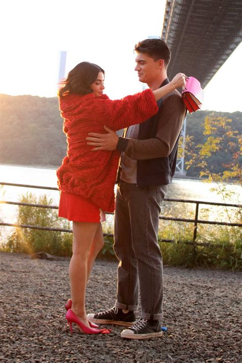 lucy hale spotted during a kissing scene with zane holtz ...