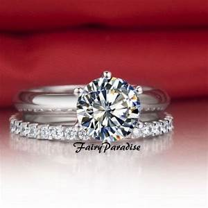 2 pcs wedding ring set 15ct lab diamond engagement ring With engagement ring plus wedding band