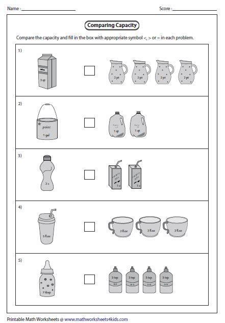 grade volume worksheets firstgrade worksheet