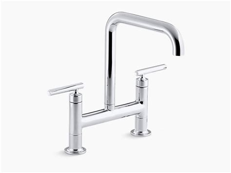 Purist Deck-mount Bridge Faucet Small Size Kitchen Design Cupboards Designs Pictures Commerical 2014 View Diy Cabinet Doors Www.kitchen With Island Layout