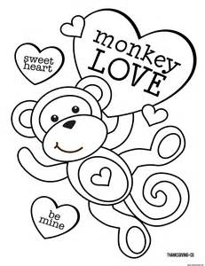 sweet heart monkey love coloring pages printable