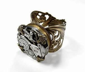 steampunk ring jeweled watch high spring barrel brass mens With mens shotgun barrel wedding ring